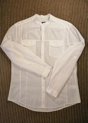 Рубашка h&m белая с длинным рукавом без воротника l