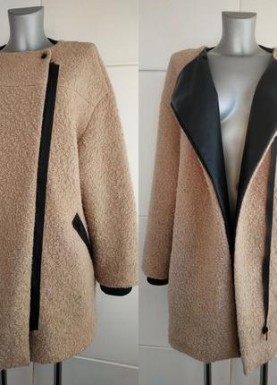 Стильное шерстяное  пальто zara песочного цвета