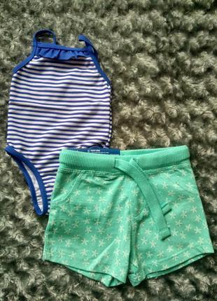 Набор- купальник и шорты для малышки(0-6 мес)