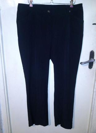 Стрейч,угольно-чёрные брюки с карманами,большого размера,jessi...