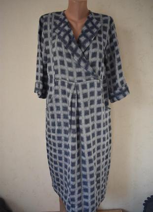 Стильное льняное платье с принтом