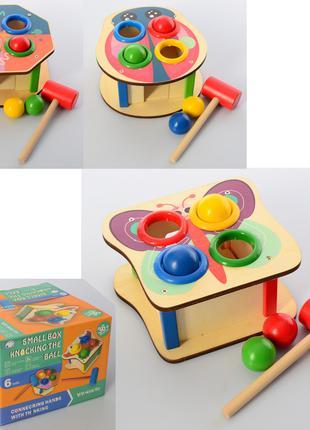 Деревянная игрушка Стучалка MD 1560 шарики 4шт, молоточек,микс...