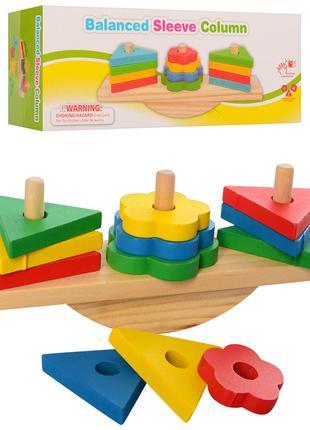 Деревянная игрушка Геометрика MD 2317 баланс, фигуры 12шт, в к...