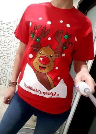 Новая новогодняя футболка женская яркая s-m новый год рождество