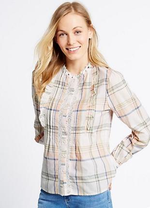 Блузка с кружевом с длинным рукавом M&S, XL