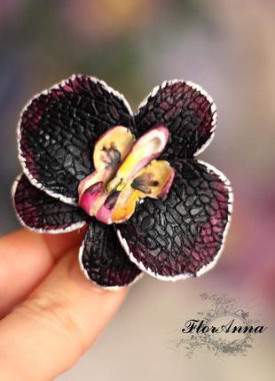 """Заколка цветок """"черная орхидея"""""""
