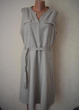 Стильное льняное платье большого размера m&co