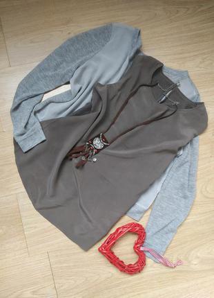 Оригинальная блуза из натуральных тканей / 100% шелк + 100% ше...