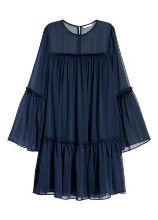 Платье шифоновое прозрачное с широкими рукавами h&m размер м