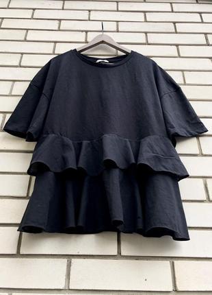 Черная блузка с баской h&m