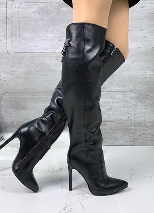 ❤ женские черные весенние демисезонные кожаные высокие сапоги ...