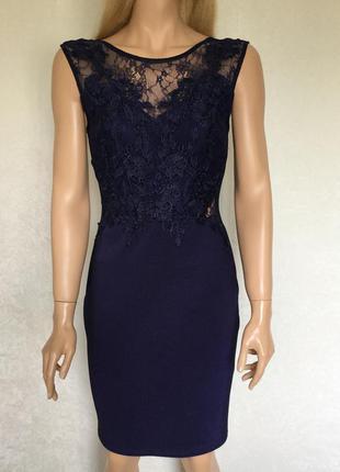 Платье по фигуре с кружевом lipsy london размер 12