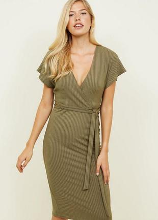 Платье миди в рубчик хаки new look  размер 10/12