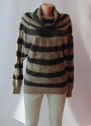 Нарядный тонкий свитер шерсть пайетки