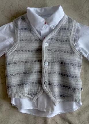 Комплект рубашка+жилетка mothercare 12-18 мес.