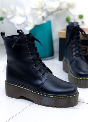 Последний размер ❤ женские черные весенние деми кожаные ботинк...
