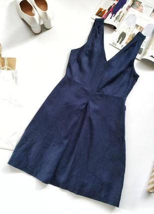 Синее льняное платье gap v-образный вырез высокая талия