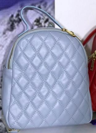 Голубой кожаный рюкзак в стиле шанель италия