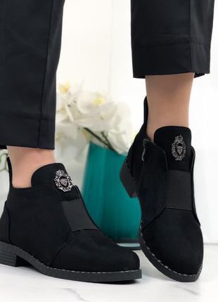 Ботинки женские демисезонные замшевые черные