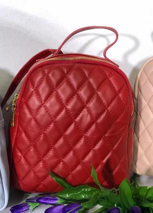 Женский кожаный рюкзак в стиле chanel красный