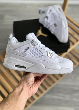 Jordan 4 🍏 белые мужские кроссовки найк джордан 4