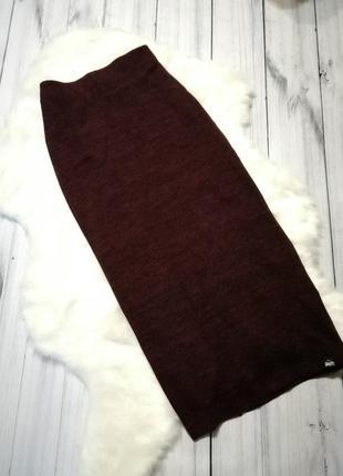 🖤тёплая юбка миди с разрезом 🖤