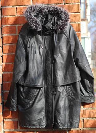 Оригинальная женская кожаная куртка, плащ canda 52-54