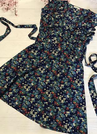 Платье цветы легкое волан цветастое