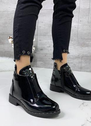 ❤ женские черные весенние демисезонные ботинки на байке ❤