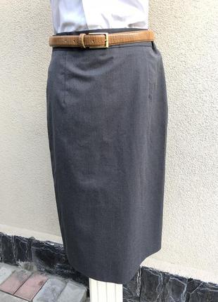 Серая,шерсть юбка карандаш,складки по спинке,офисная,люкс брен...