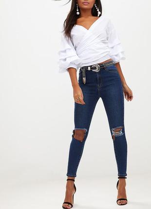 Джинсы высокая талия. джинсы скины от prettylittlething