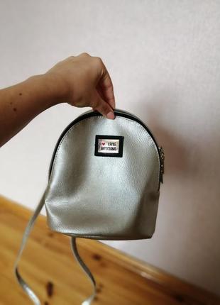 Рюкзак сумка женская цвет серебро