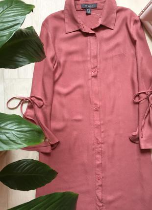 Платье рубашка трапеция с рюшами на рукавах пудрового цвета pr...