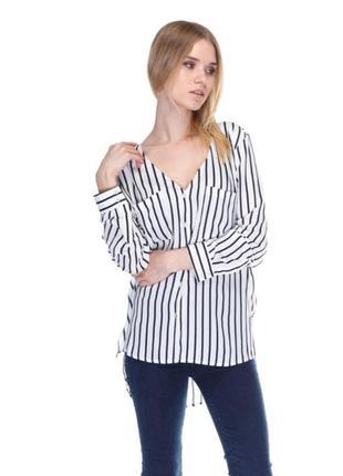 Удлиненная блуза  рубашка в полоску h&m с карманами