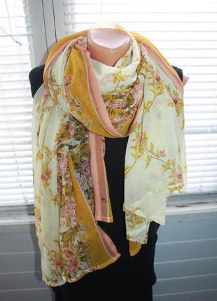 Красивейший широкий шарф в цветочный принт, 110х240см