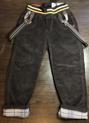 Штаны брюки подтяжках вельвет для мальчиков