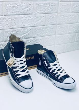 Кеды converse кожаные мужские высокие чёрные с белым кеды ботинки