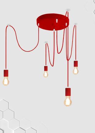 Подвесная потолочная люстра на 4-лампы CEILING/SP-4R E27 красный