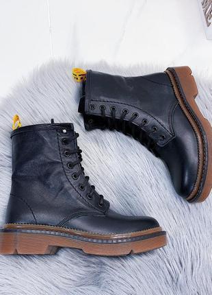 Кожаные ботинки мартенсы,высокие ботинки  в стиле dr. martens,...