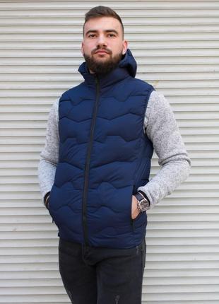 Мужская жилетка Vesty с капюшоном осенняя весенняя синяя | Без...