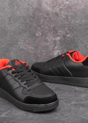 Мужские кроссовки кожаные черные-красные | Спортивные кеды зим...