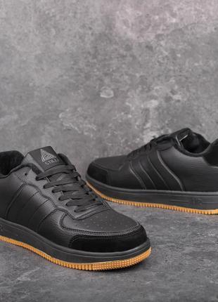 Мужские кроссовки кожаные черные-рыжие | Спортивные кеды зимни...
