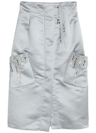 Атласная юбка с бисером h&m conscious exclusive