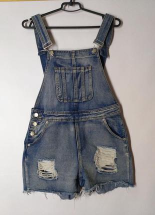Комбинезон с шортами джинс джинсовый деним