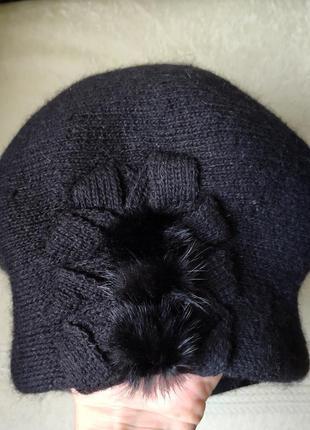 Необычный шерстяной вязаный берет шапка с кроликом панама черн...