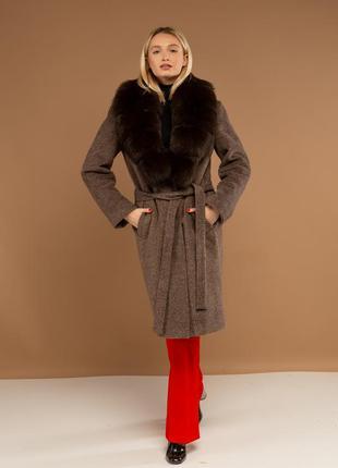 Пальто с шалевым воротником ткань шерсть италия с мехом финск...