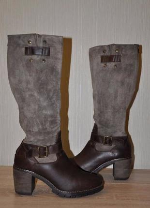 Демисезонные ботинки сапоги кожа+натуральная замша на флисе, р.39