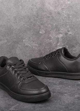 Кеды мужские зимние кожа на меху черные | Спортивные кроссовки...