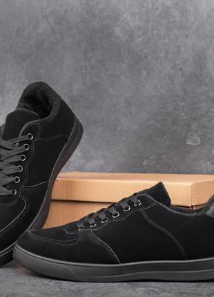 Кеды мужские зимние замшевые черные | Спортивные кроссовки зам...