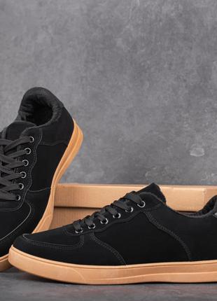 Кеды мужские зимние замшевые черно-рыжие | Спортивные кроссовк...